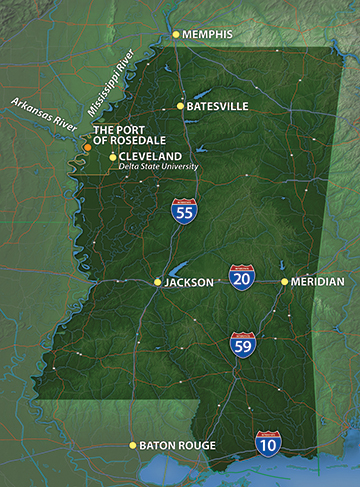 The Port of Rosedale in Bolivar County has a strategic location 110 miles from Memphis, TN and 115 miles from Jackson, MS.